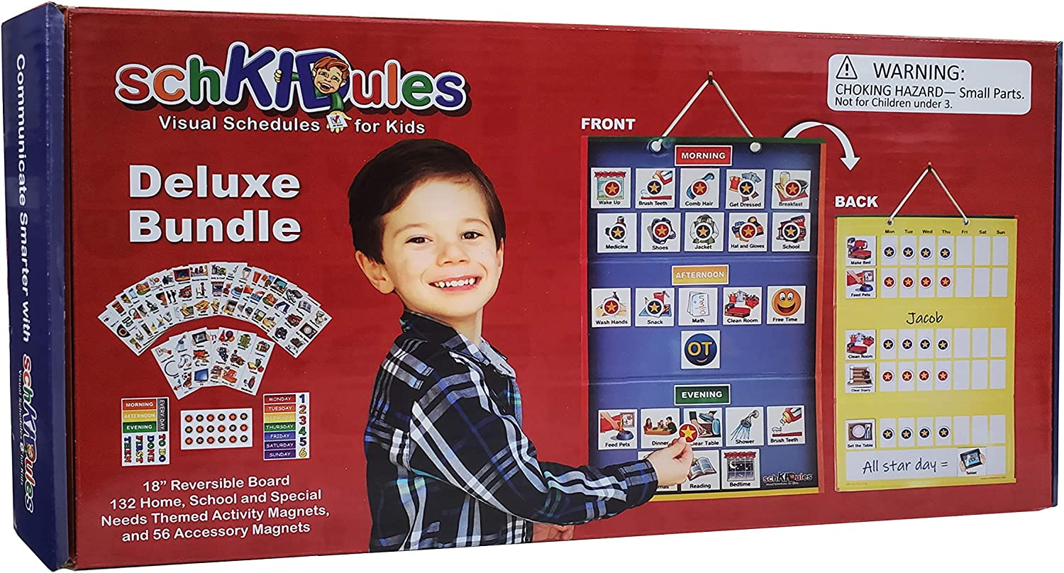 SchKIDules Visual Schedule for Kids Deluxe Bundle Daily Activity Chart / Weekly Progress Chart, 2-Sided Trifold Magnet Board & 189 Magnetic Picture Cards (for Preschool, Children, Toddlers, Autism)