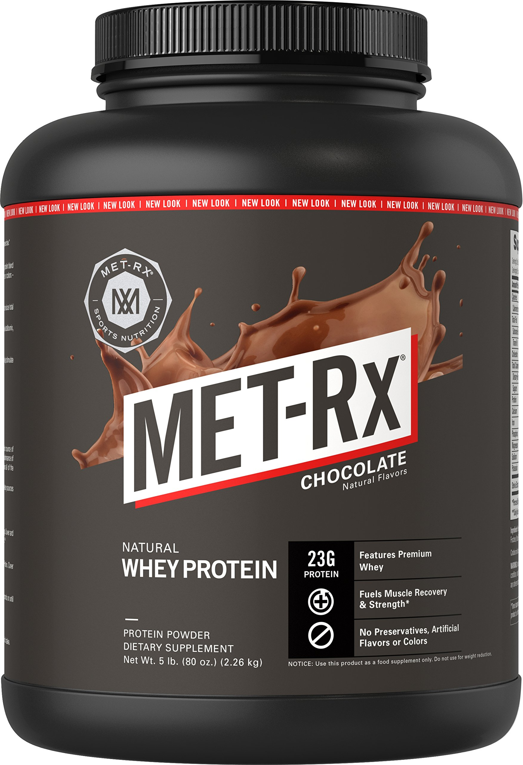 MET-Rx Natural Whey Protein Powder, Great for Meal Replacement Shakes, Low Carb, Gluten Free, Chocolate, 5 lbs by MET-Rx