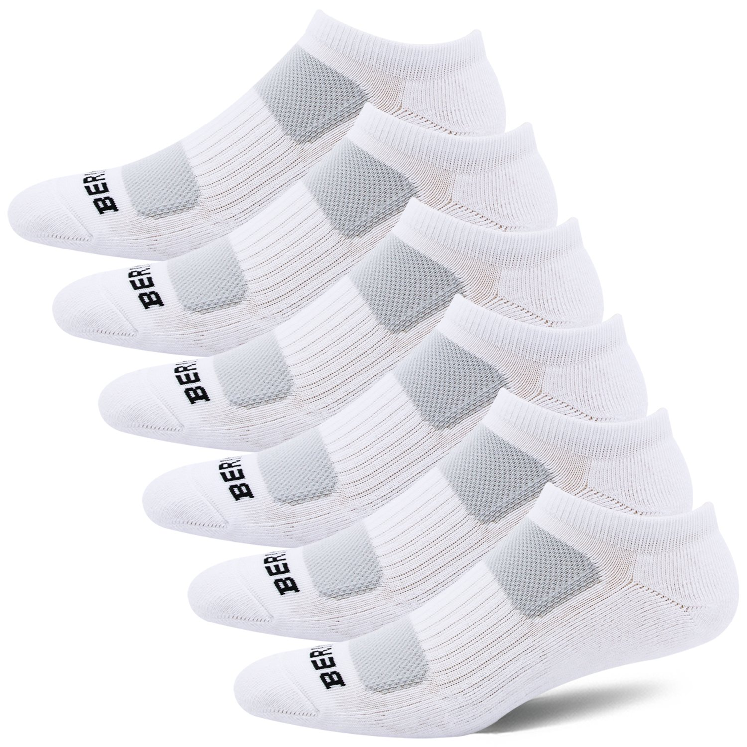 BERING Women's Athletic Low Ankle Cushion Socks, White, Size 8-12, 6 Pairs