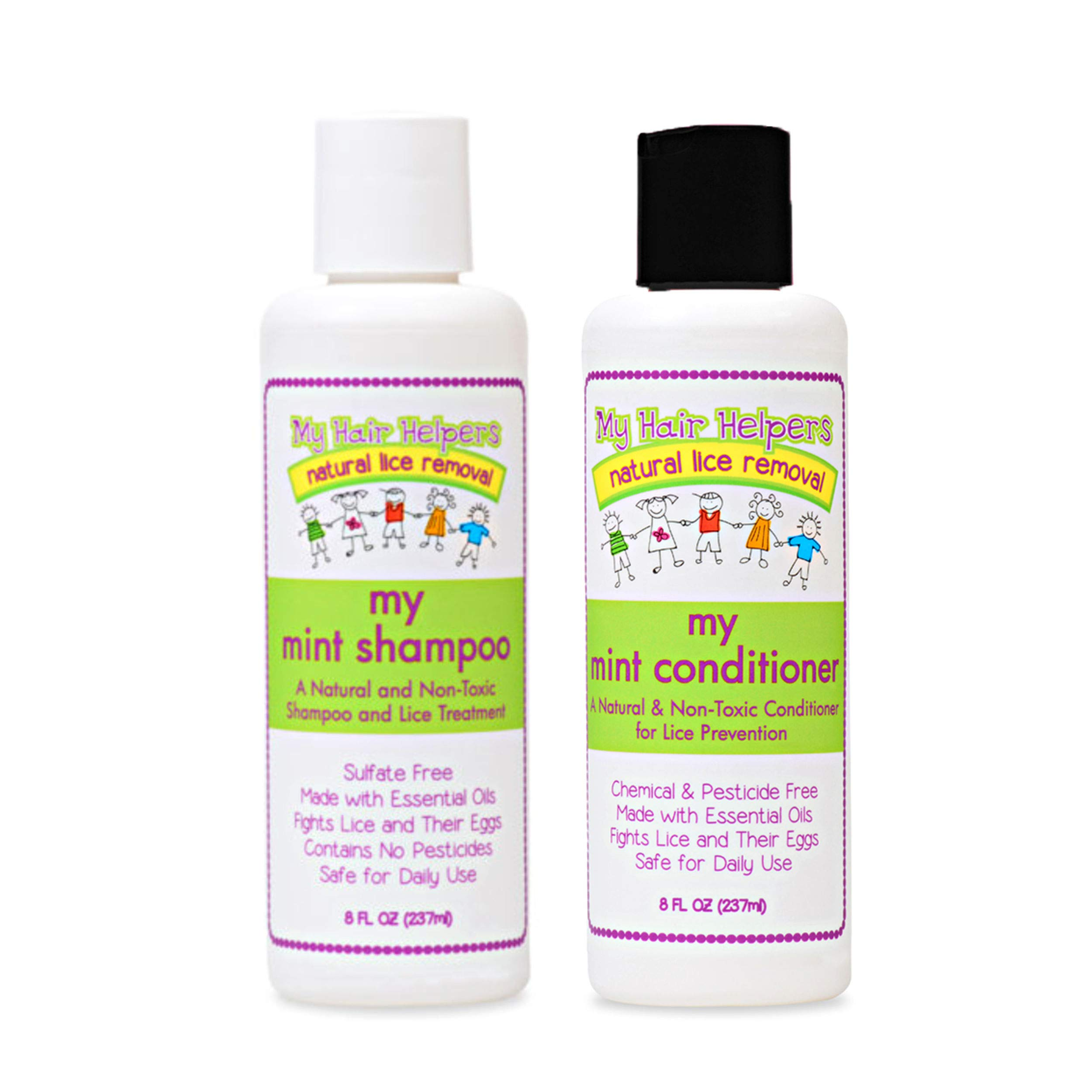 Lice Prevention Shampoo and Conditioner That Kills Lice and Eggs for Kids I Peppermint Essential Oil I Use Daily to Get Rid of Lice and Stay Nit-Free I 8 Ounces Each by MY HAIR HELPERS NATURAL LICE REMOVAL