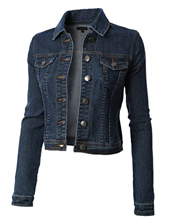 RubyK Womens Classic Cropped Long Sleeve Denim Jean Jacket with ...