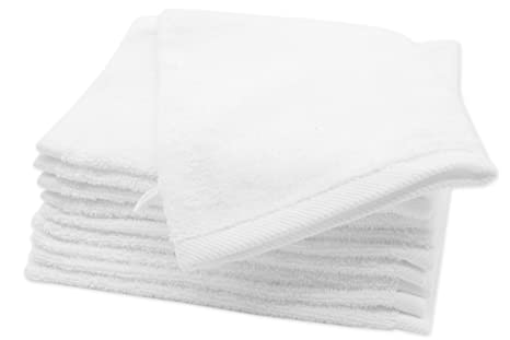 Zollner Set de 10 manoplas de baño de rizo, 16x21 cm, 100% algodón