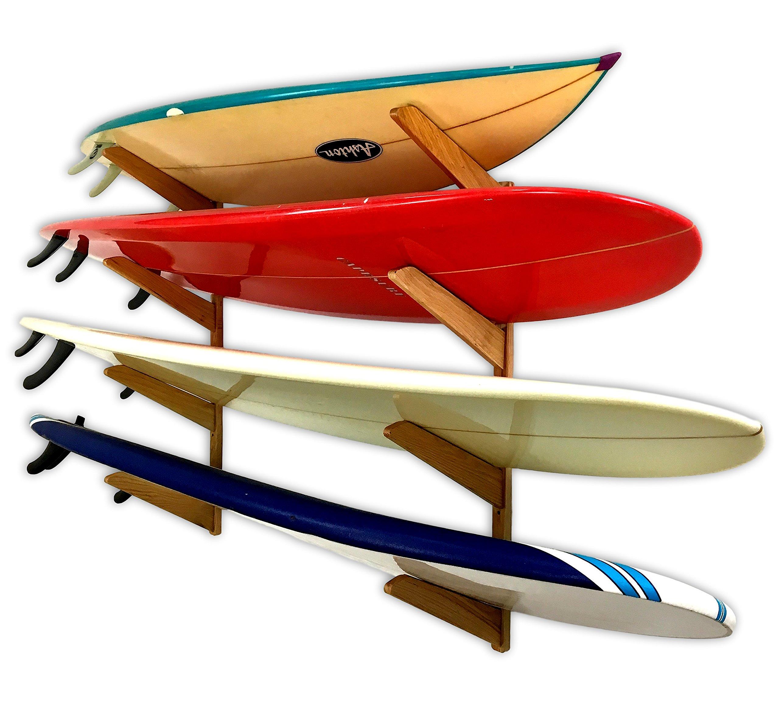Timber Surfboard Wall Rack - 4 Surfboards Storage - Wood Home & Garage Surf Mount Brackets