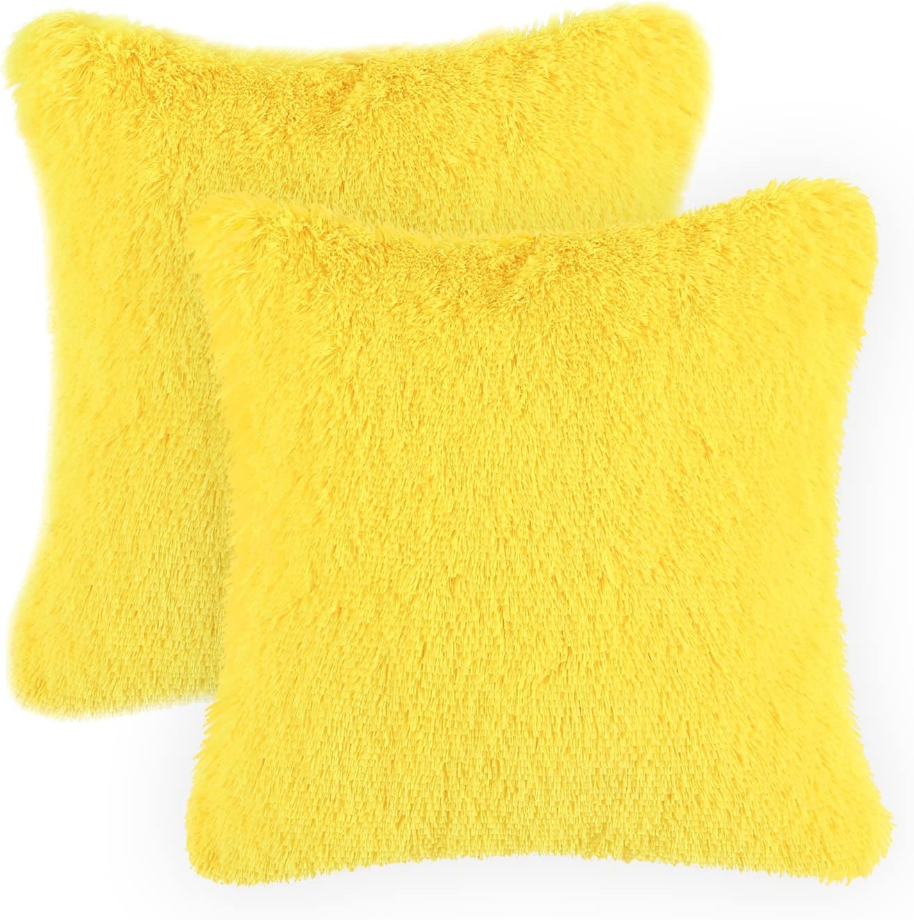 CaliTime Pack of 2 Super Soft Throw Pillow Covers Cases for Couch Sofa Bed Solid Plush Faux Fur 18 X 18 Inches Maize Yellow