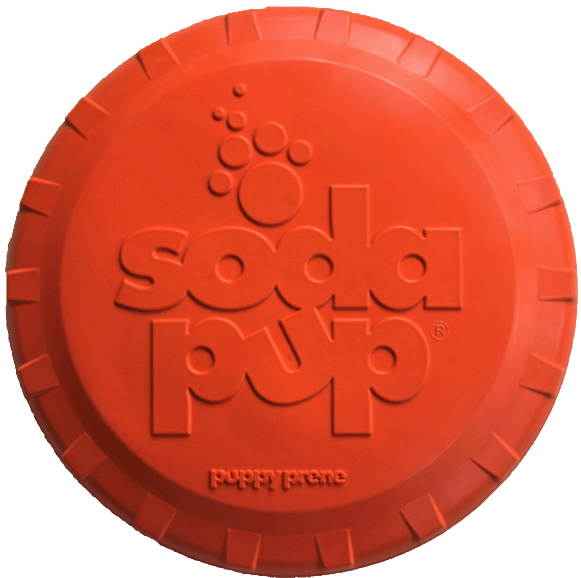 SodaPup Dog Frisbee - Tough dog toys for large dogs Premier Dog Toys to Play Fetch with, USA Made - Orange - Small
