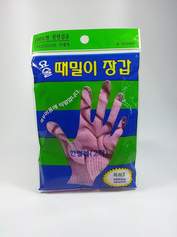 (1 Pair) Magic Korean Body-scrub Gloves ,Korean Spa Bath Washcloth (Finger Type) By Jung-jun Industry ???? ????? ????