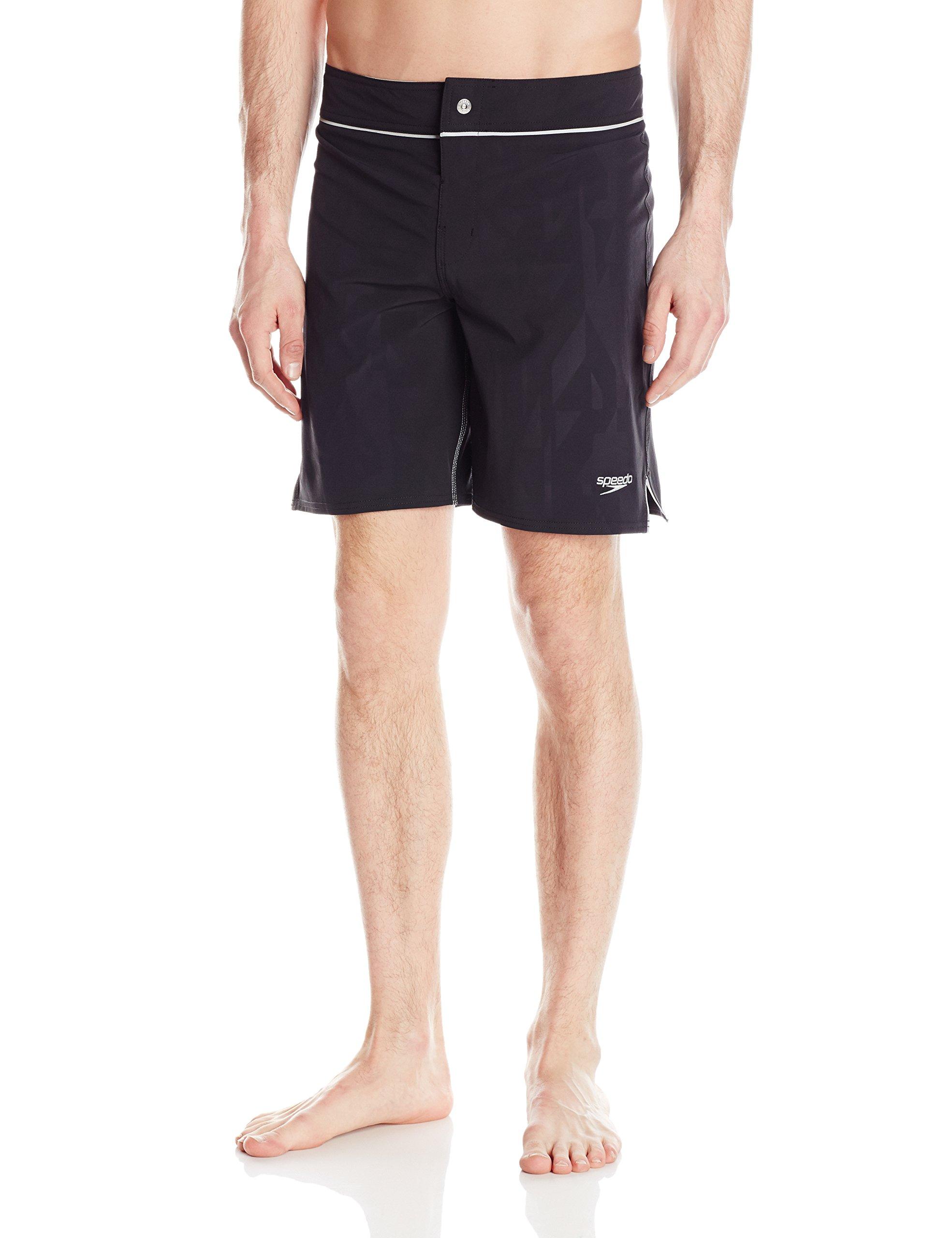 Speedo Men's Embossed Geo Packable Boardshort Workout & Swim Trunks, Black, Size 36