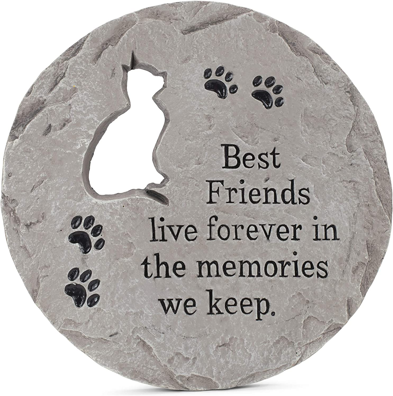 Transpac The Memories We Keep Grey Cat 12 x 12 Cement Memorial Garden Stepping Stone