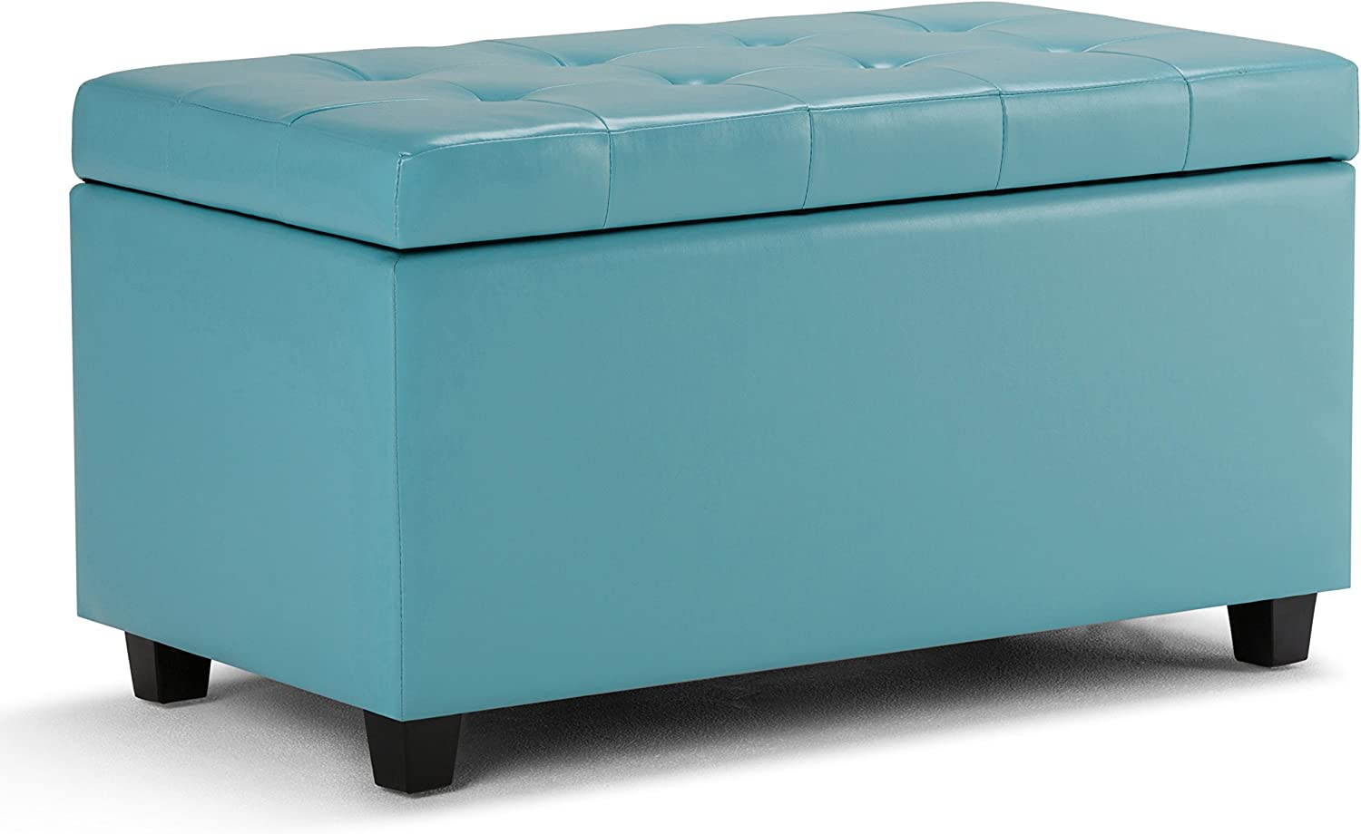 Simpli Home AY-S-38-BU Cosmopolitan 34 inch Wide ContemporaryStorage Ottoman in Soft Blue Faux Leather