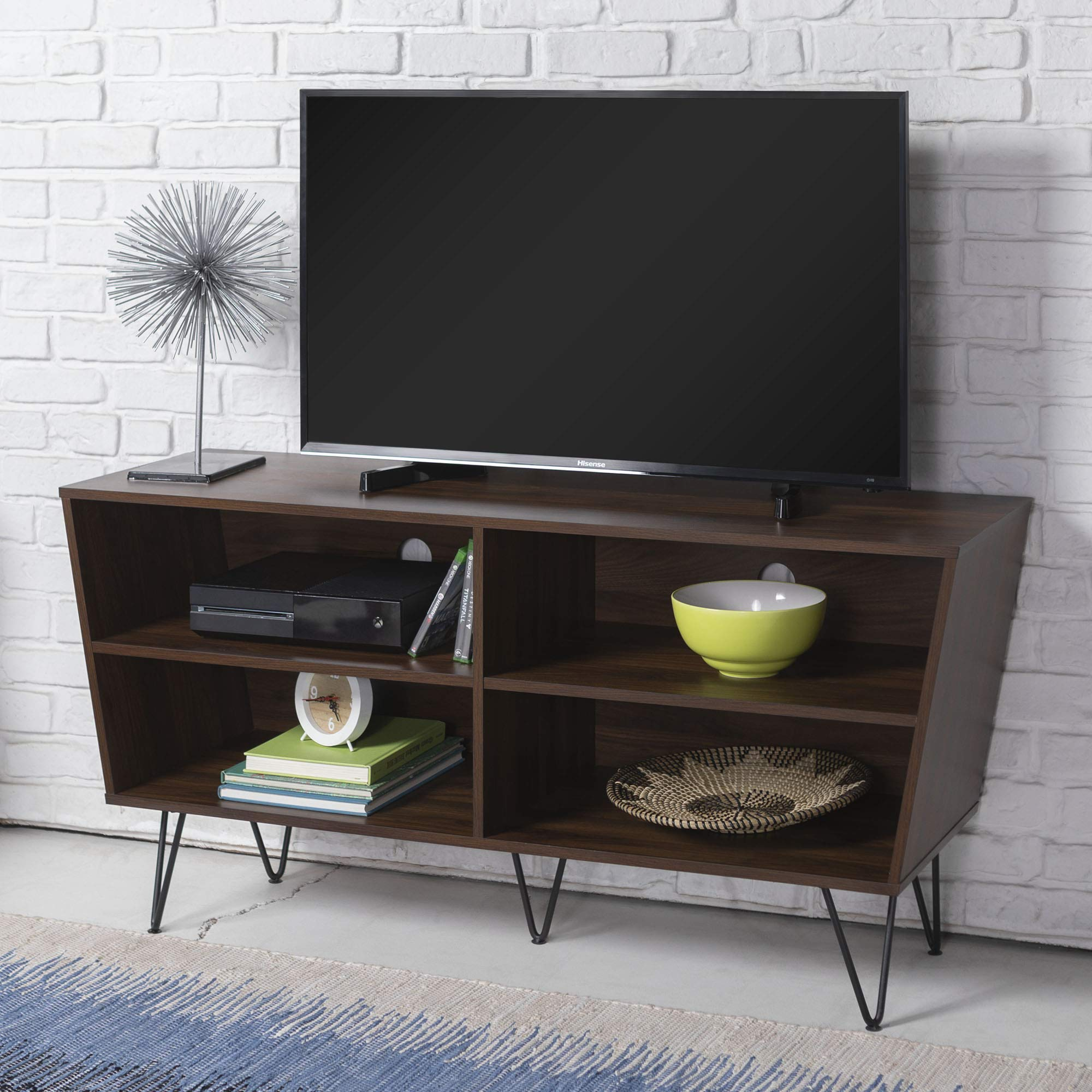 WE Furniture Mid-Century Modern Wood Hairpin Stand for TV's up to 56'' Living Room Storage, 52'', Walnut Brown by WE Furniture