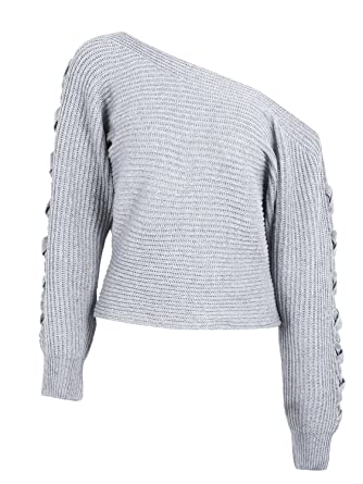 49ea866c8c Simplee Women s Casual Loose Sexy Off Shoulder Lace Up Knitted Pullover  Sweater