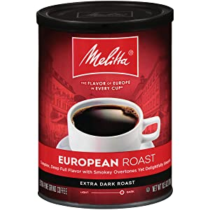Melitta European Roast Extra Dark Roast Ground Coffee, 10.5 Ounce (Pack of 4)
