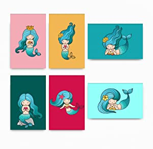 Set Of 6 Mermaid Decor Wall Art Posters | Girly Prints For Room Decorations | Mermaid Wall Decor Posters for Girls, Perfect for Girl's Bedroom Or Playroom | Nursery Wall Decor For Girls Room | Ideal Gift for Clinics