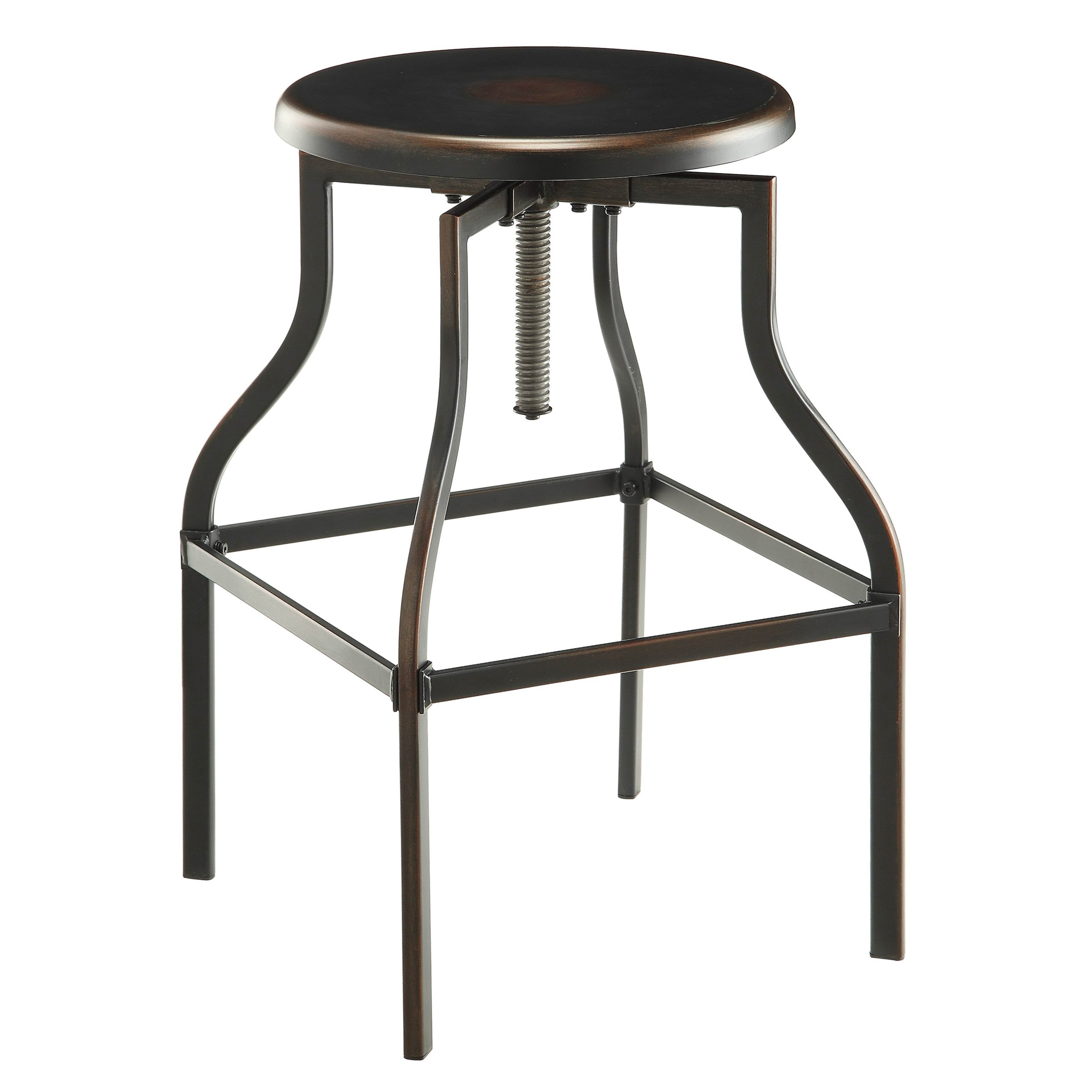Carolina Chair and Table Colby Metal Adjustable Stool, Antique Copper