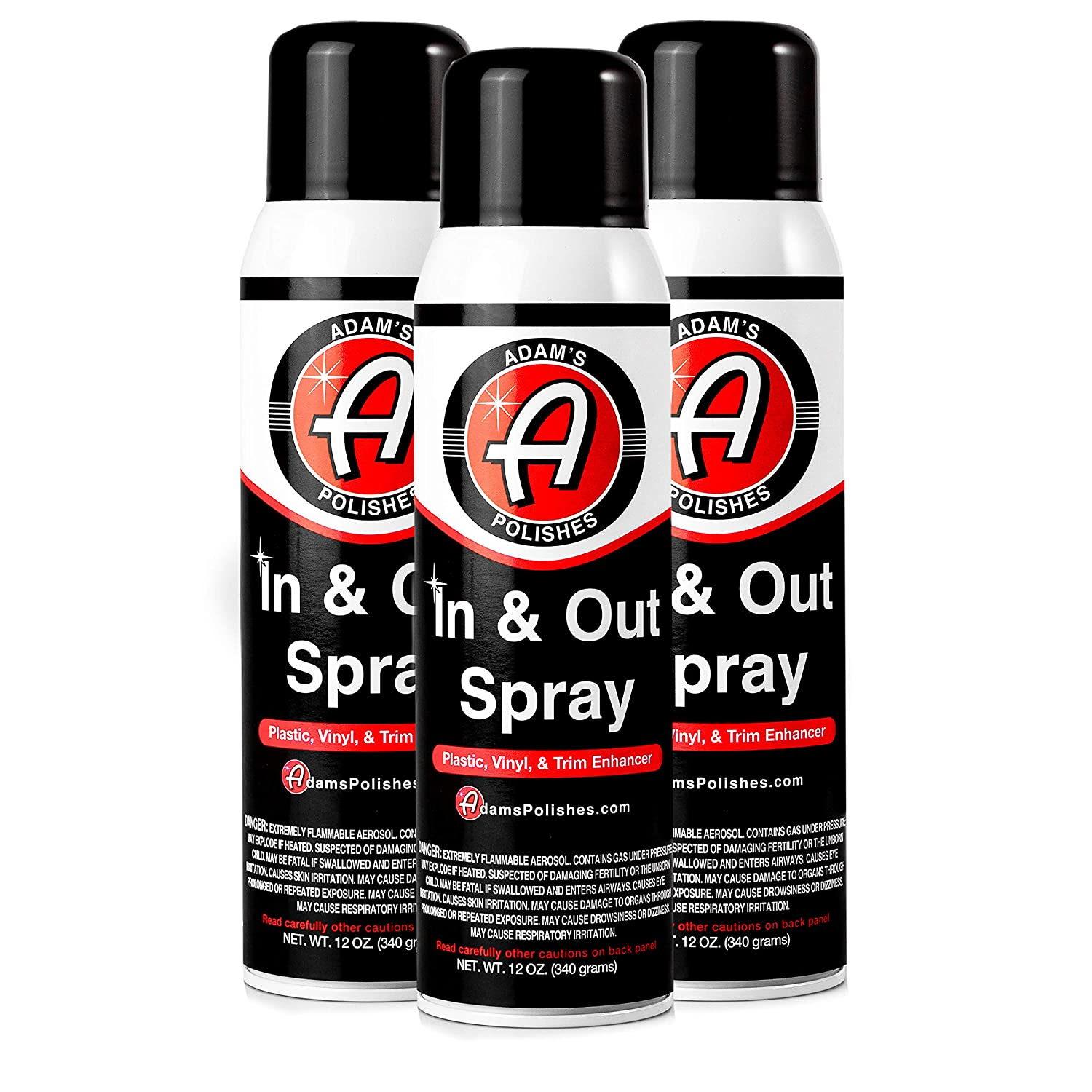 Adam's in Out Spray - Ultimate Solution Dressing Those Hard to Reach Areas Around Your Car - Dark, Rich, Longer Lasting Shine (3 Pack) Adam' s Polishes