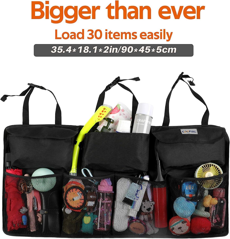Organizer mit verbessertem Magic-Stick wasserdicht vergr/ö/ßerte 7 Taschen Kofferraum Tidy/&Clean Auto-Aufbewahrung gro/ße Kapazit/ät schwarz COOFULL Kofferraum-Organizer