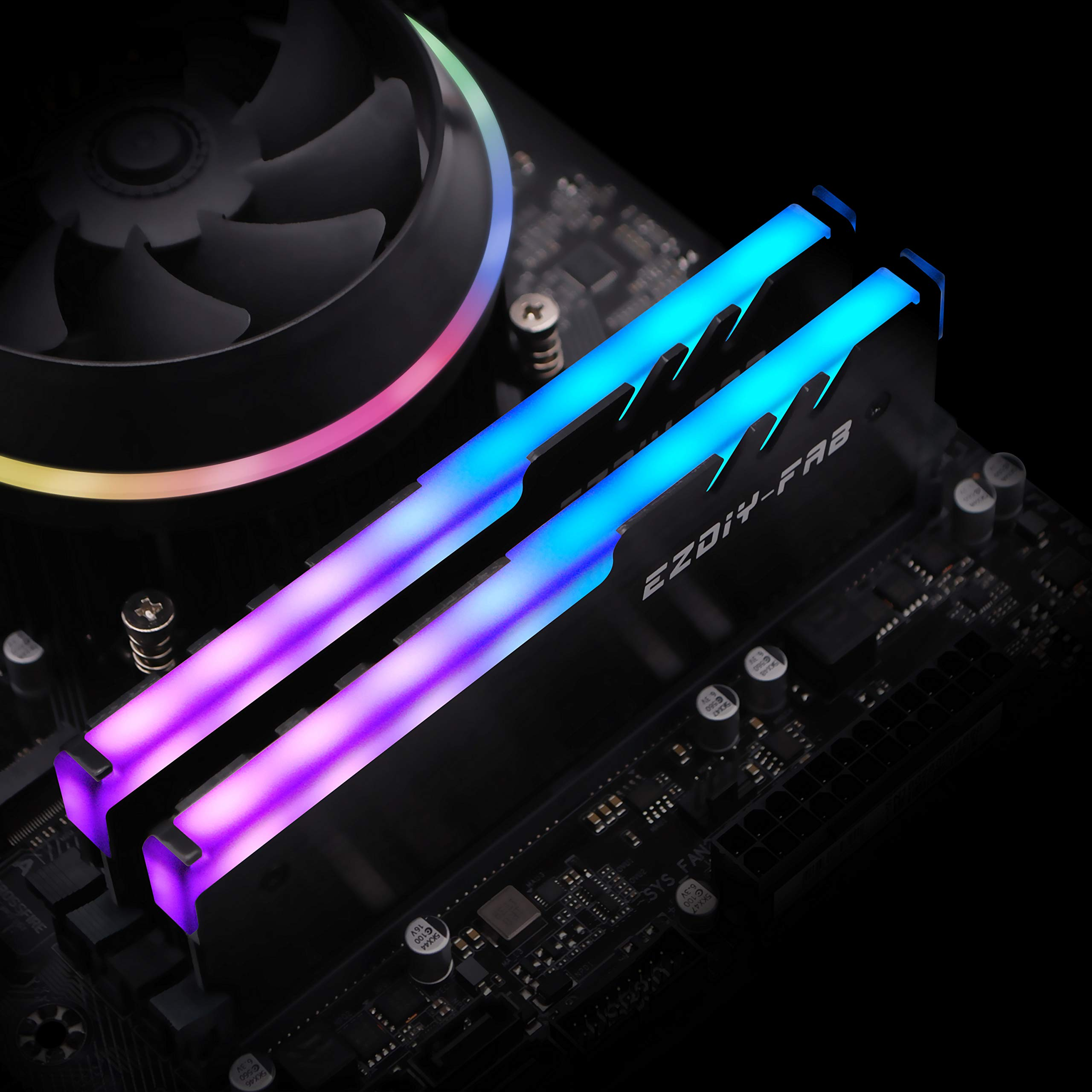 -Black-1 Pack Compatible with ASUS Aura Sync, GIGABYTE RGB Fusion and MSI Mystic Light Sync EZDIY-FAB DDR RGB Addressable Memory Ram Cooler Heatsink for DIY PC Game Overclocking MOD DDR3 DDR4