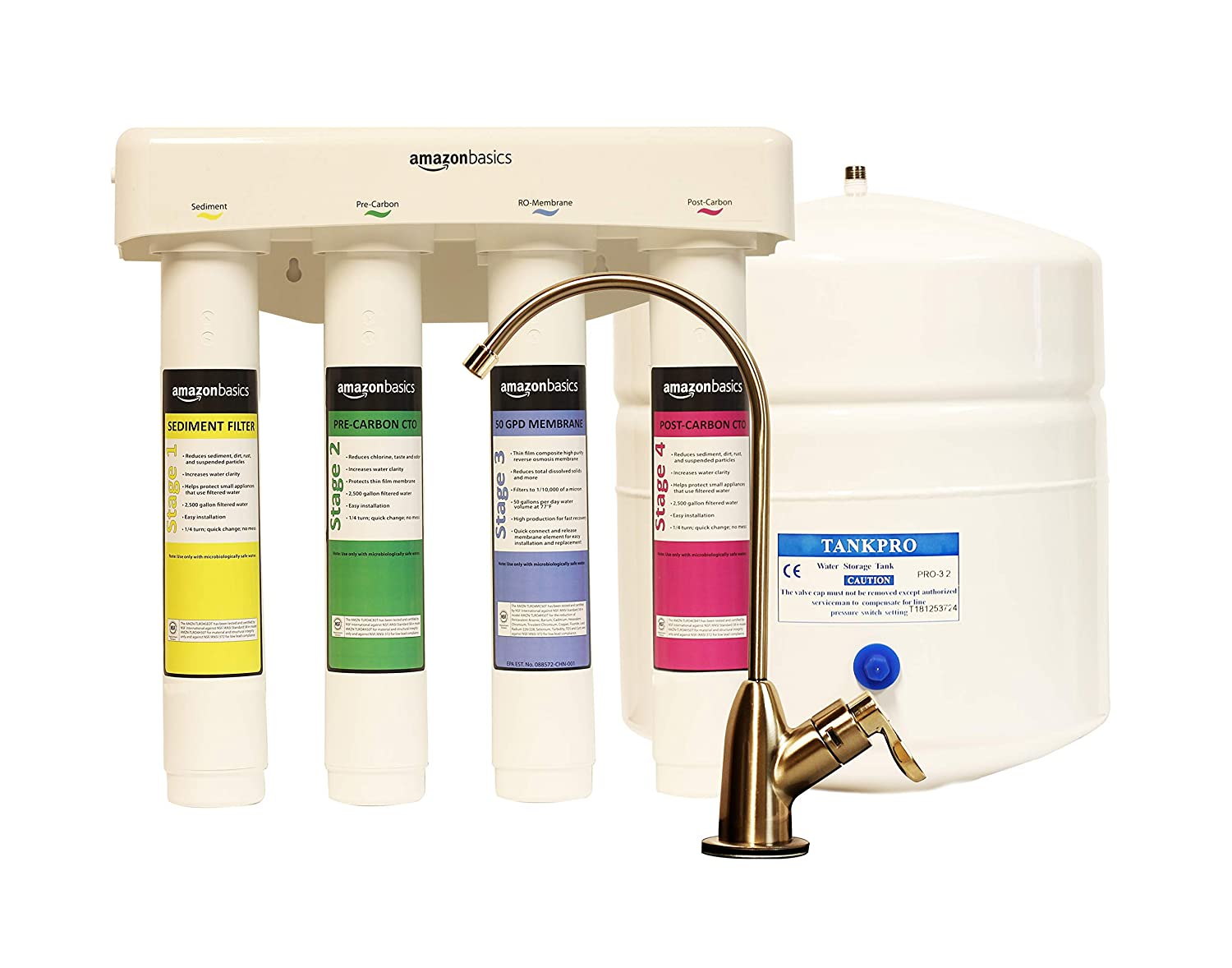 AmazonBasics 4-Stage Reverse Osmosis Home Drinking Water System