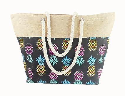 ANGELINA Bolsa de Playa y Compras Grande con Cremallera Asas de Cuerda para Hombro Mujer, Estampados, Colores y Diseños Variados (piña negra)