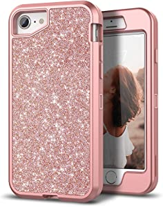 WeLoveCase iPhone SE 2020 Case, iPhone 8/7 Case Glitter Bling Sparkle 3 in 1 Hybrid Heavy Duty Shockproof Three Layer Protective Cover for Apple iPhone SE 2nd Generation/ 8/7 Rose Gold