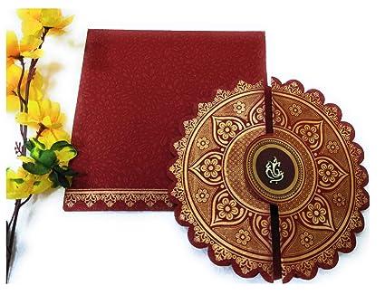 Queen S Wedding Cards Flower Designer Maroon Colour Wedding Invitation Card Pack Of 25