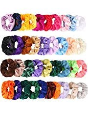 40Pcs Hair Scrunchies LCHM Velvet Elastic Hair Bands Scrunchy Hair Ties Ropes Scrunchie for Women or Girls Hair Accessories - 40 Assorted Colors Scrunchies (Mixed Color)