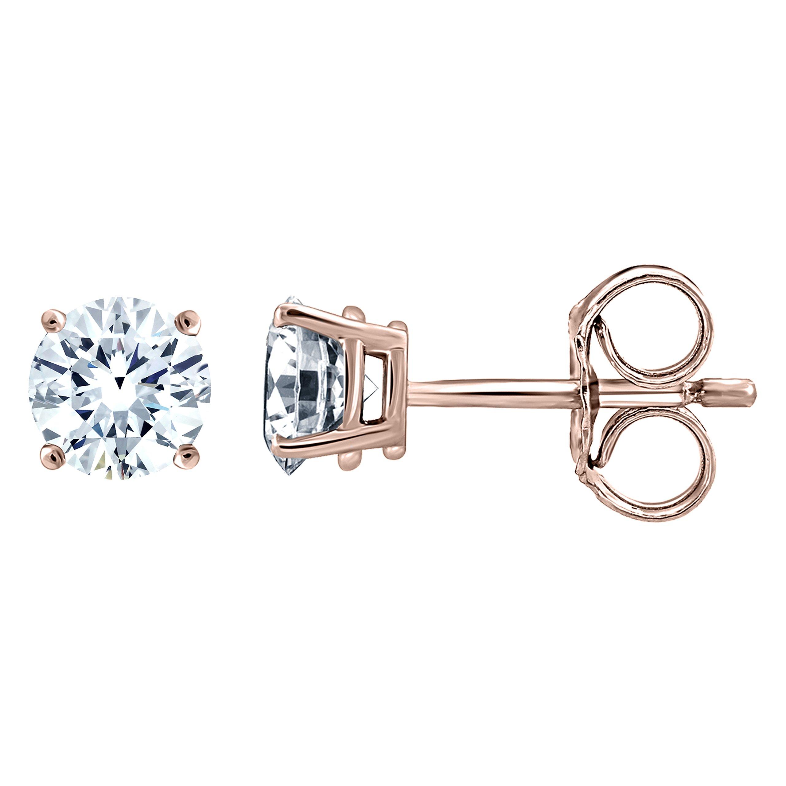 IGI Certified Diamond Stud Earrings for Women Set in 10K Rose Gold, (Clarity I2I3)