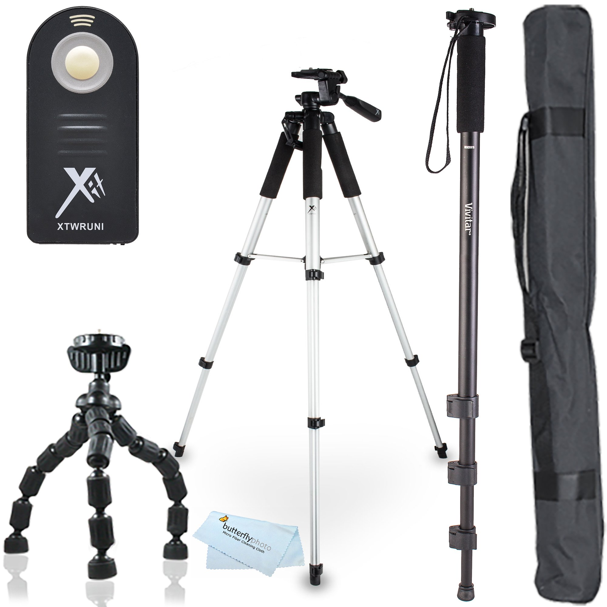 Triple Tripod Kit + RC-6 Wireless Shutter Release Remote Control For Canon EOS Rebel T5i, T4i, T3i, 5D, 7D, 7D Mark II, 6D, 60D, 70D DSLR Includes 57'' Full Tripod + 67'' Monopod + 10'' Flexible Tripod by ButterflyPhoto