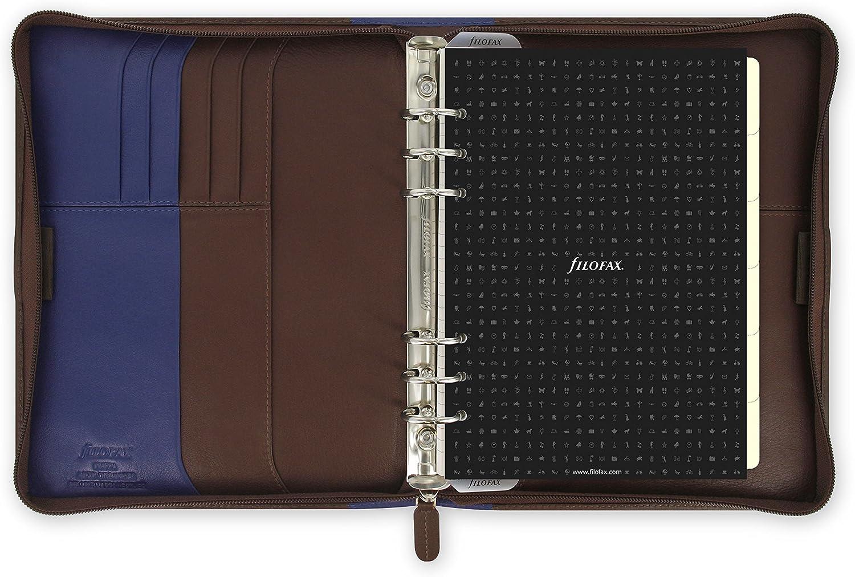 Filofax A5 Organiser//Planer,/Nappaleder mit Rei/ßverschluss Schokoladenbraun//Blau