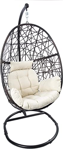 Egg Chair Rattan Swing Chair Outdoor Indoor Wicker Tear Drop Hanging Chair with Stand