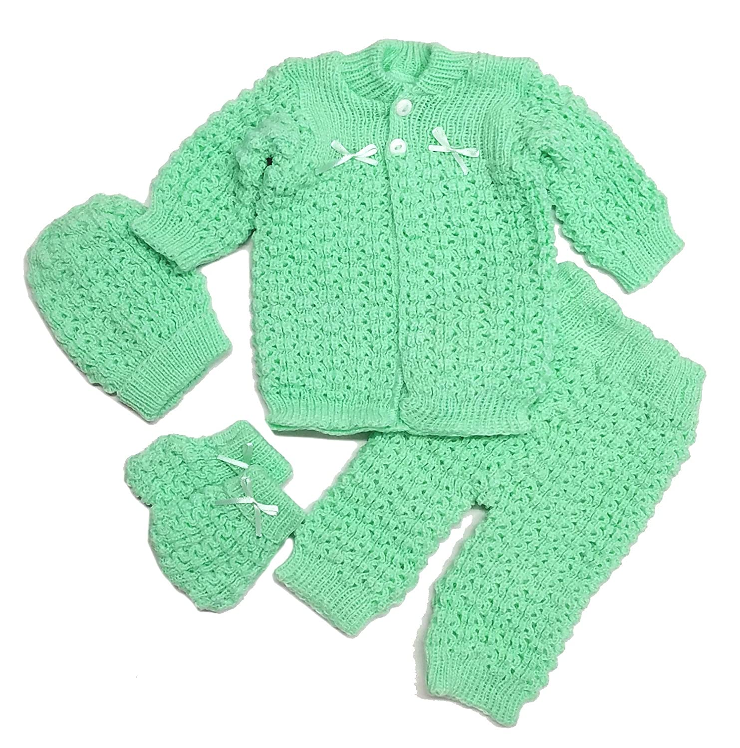 bf684fe44 Amazon.com: Abelito Baby's Four Piece Crochet Outfit Set One Size Blue:  Clothing