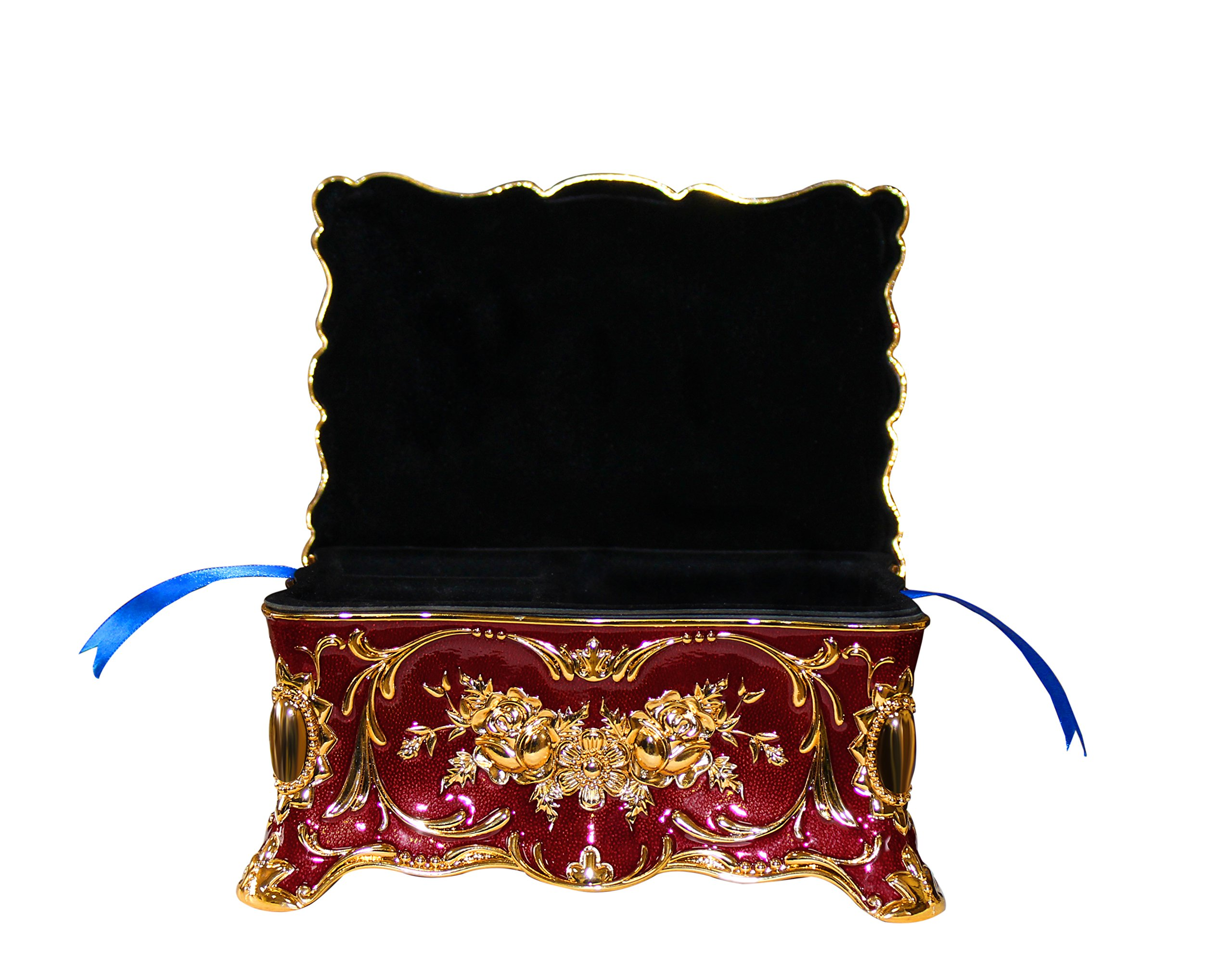 Goddess Area Vintage Jewelry Box with Ornate Antique Finish Rectangular Trinket (Red) by Goddess Area (Image #6)