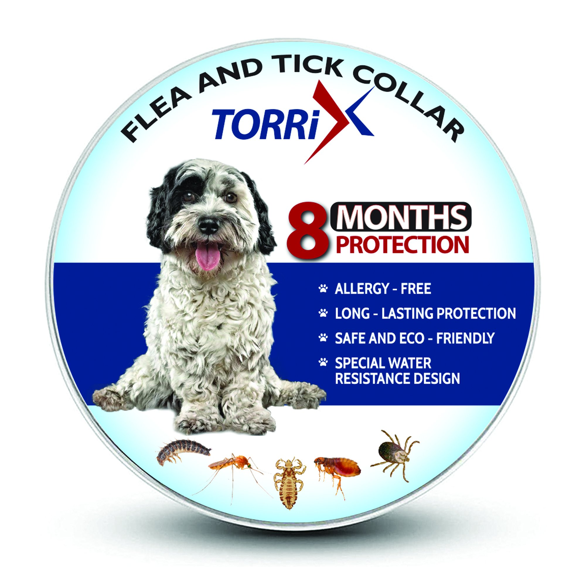 TORRIX Dog Collar - 8-Month Flea Medicine - Adjustable, Safe And Water Resistant Flea Prevention Collar