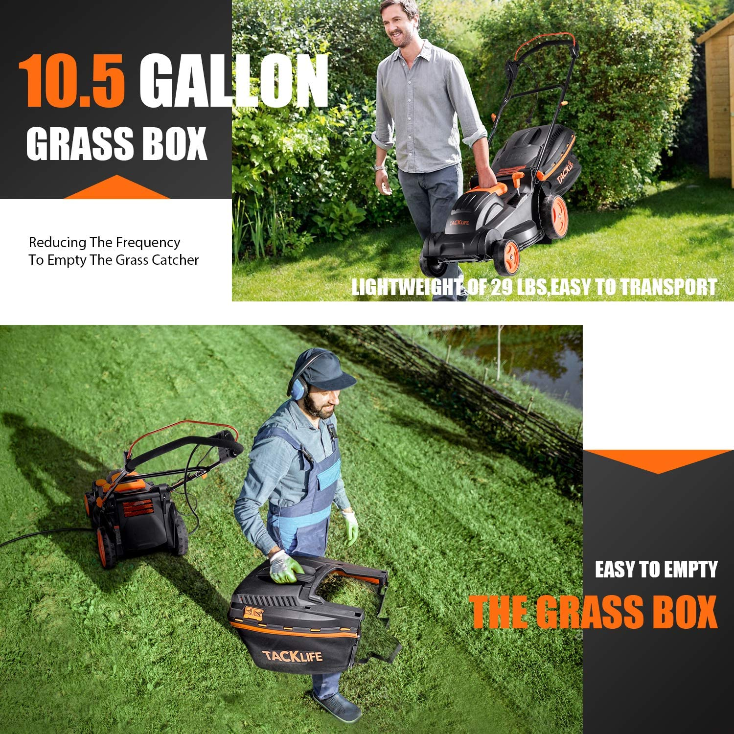 TACKLIFE Electric Lawn Mower
