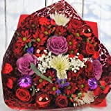 Homeland Florists Luxury Christmas Bauble Bouquet, Fresh Festive Flowers Delivered Next 7 Days a Week, Red & Purple, Large