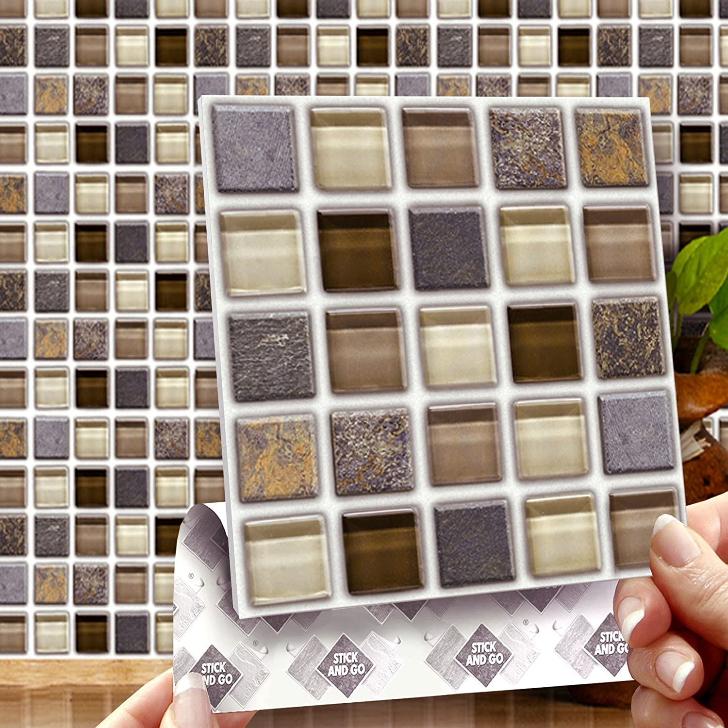 GLASS STONE MOSAIC EFFECT WALL TILES: Box Of 8 Tiles Stick And Go Wall Tiles  6 Part 58