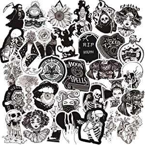 Gothic Stickers, 50PCS Cool Decals for Water Bottle,Black White Skull Sticker, Waterproof Vinyl Stickers Perfect for Laptop Phone Skateboard, Teens Kids