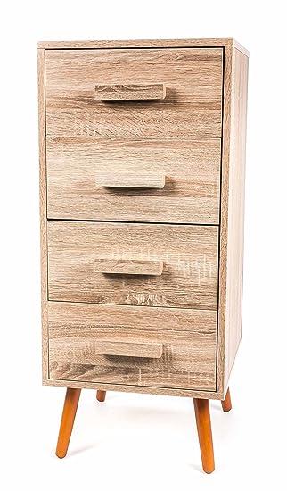 Kommode mit 4 Schubladen, schräge Füße, Skandinavisch-Retro-Design ...