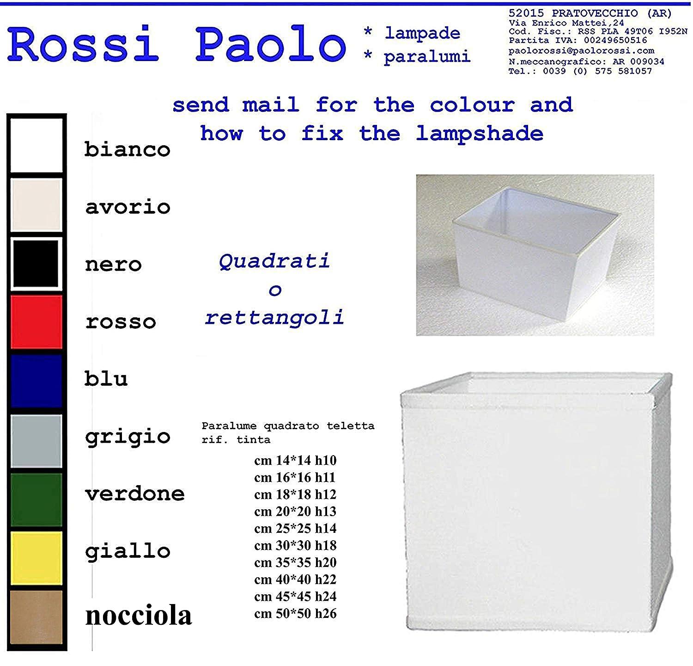 Paralume quadrato o rettangolare in tessuto e PVC - produzione propria - made in Italy (cm 45) Paolo Rossi