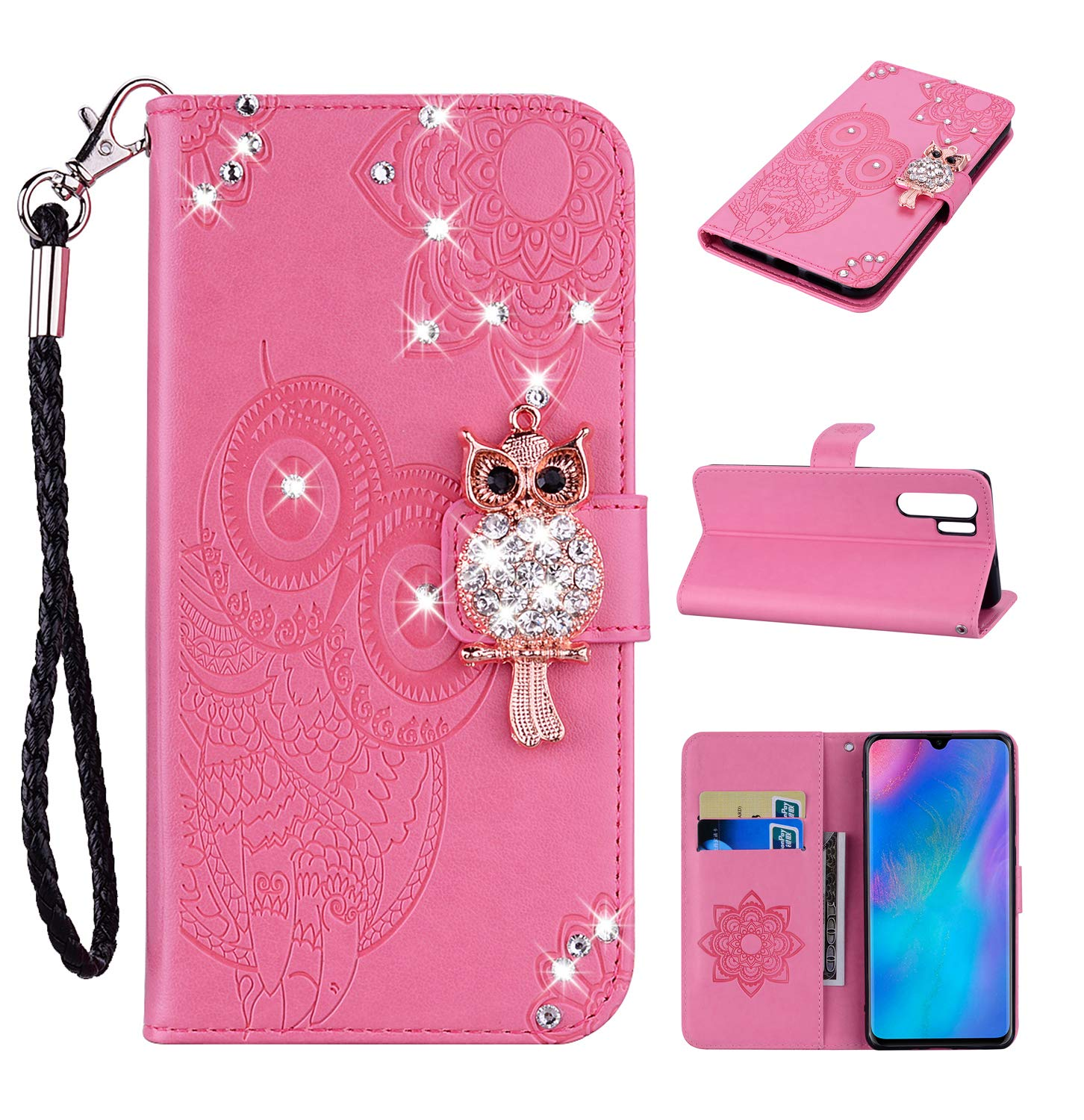 Amocase Wallet Case with 2 in 1 Stylus for Huawei P30 Pro,3D Bling Gems Owl Magnetic Mandala Embossing Premium Strap PU Leather Card Slot Stand Case for Huawei P30 Pro - Pink