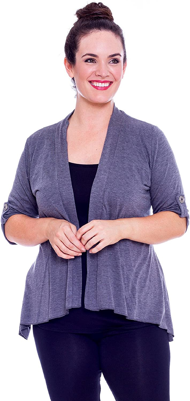 NEU Übergröße schicke Damen Kurzarm Strick Jacke Cardigan in d.blau  Gr.46,48