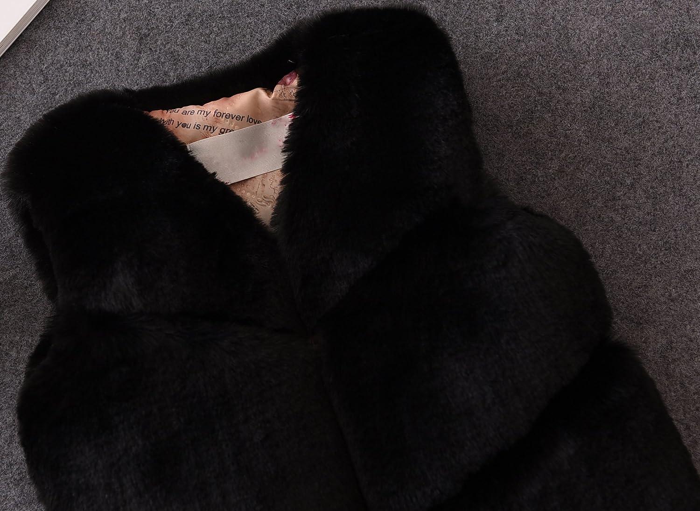 FOLOBE Los ni/ños de oto/ño e Invierno Faux Fur Chalecos Los nuevos Cabritos imitaci/ón Fox Pelo Gilets Abrigos para Las ni/ñas y los ni/ños