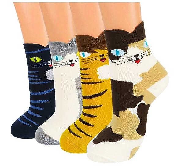 ad9da5ebd34b4 Women 4 pack Girls Fun Sweet Cute Animal Pattern Colorful Casual Cotton  Crew Socks One Size
