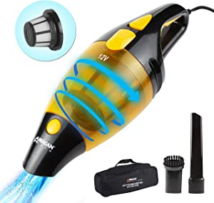 Wagan EL7207 Black/Yellow 120W Cyclonic Action 12V Powerful Auto Vacuum with Carry Bag