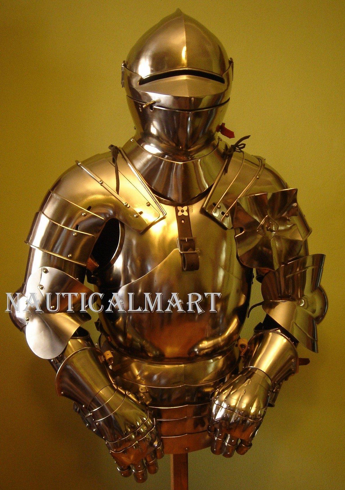Armor Costume Steel Medieval Suit of Armor Breastplate with Helmet