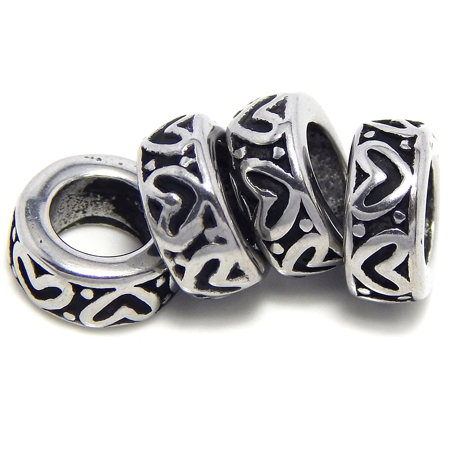 Hearts Design Round Spacers for Charm Bracelets 193 Set of 4 Stainless Steel