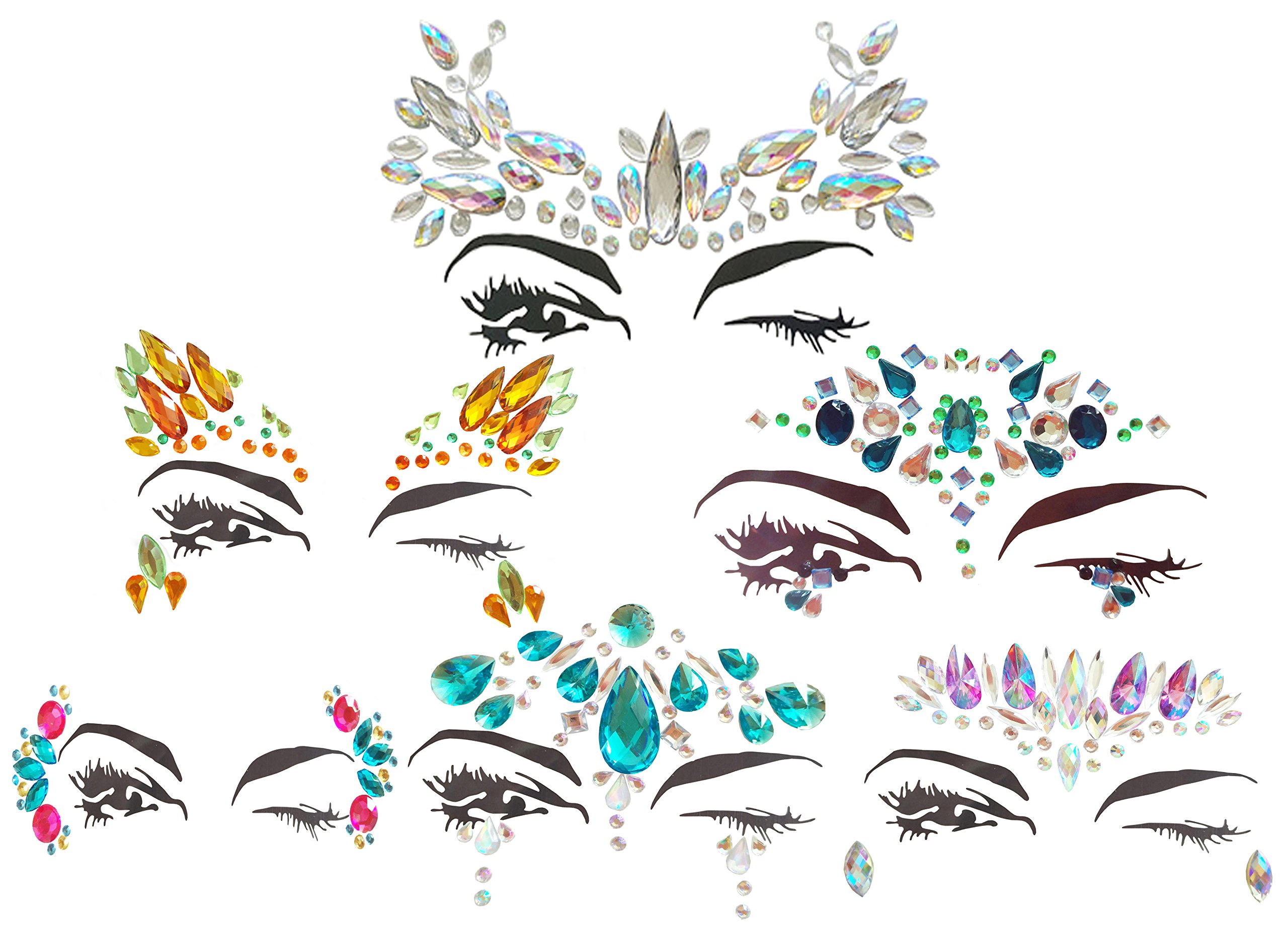 ZLXIN Shiny Face Gems Temporary Tattoo Stickers Acrylic Crystal Glitter Stickers Waterproof Face Jewels Rainbow Tears Rhinestone Eye Decoration for Party, Rave Festival, Dress-up (6 Pcs A Set)