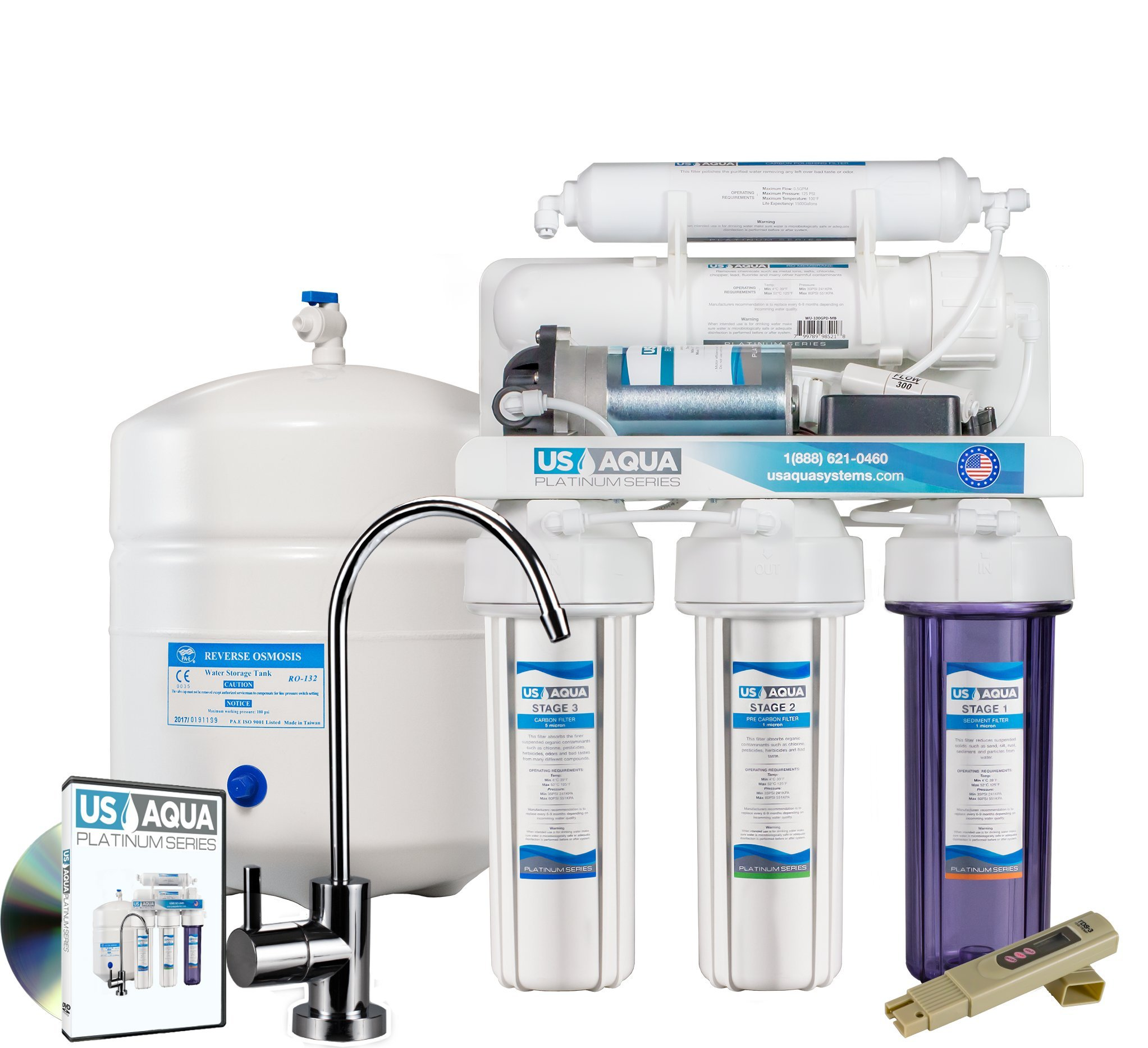 US Aqua Platinum Series Deluxe High Capacity 100GPD Under Sink Reverse Osmosis Purifier Drinking Water Filter System - Free Bonus PPM Meter and Installation DVD (5 Stage, With Pump)