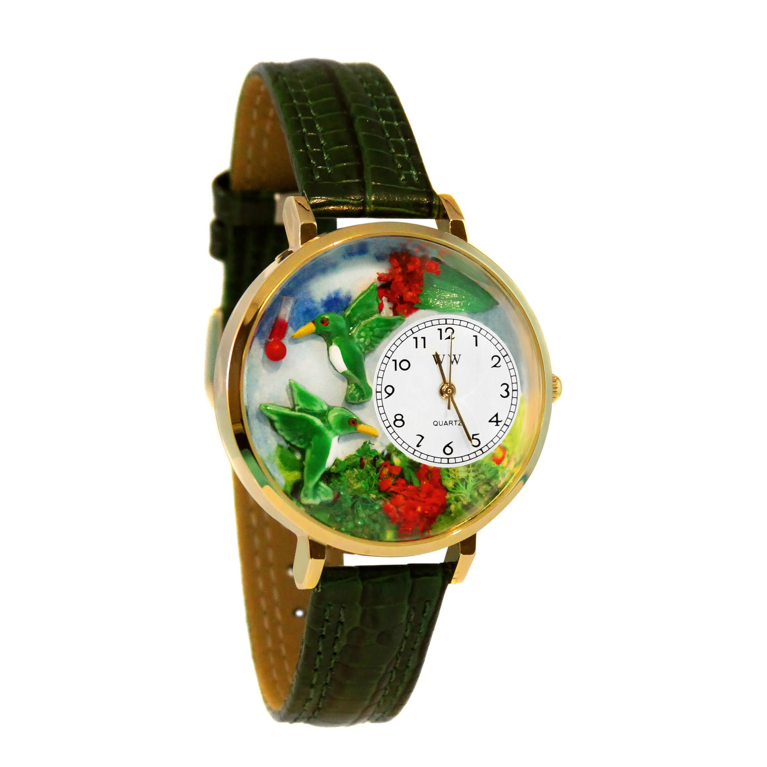 Whimsical Watches Women's G1210003 Hummingbirds Green Leather Watch