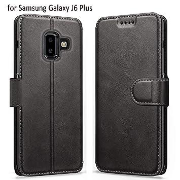 ykooe Funda Samsung J6 Plus (2018), Funda Libro de Cuero Magnética Carcasa para Samsung Galaxy J6 Plus 2018 (Negro)